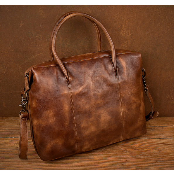 MANTIME HORIZONTAL SHAPE HANDMADE LEATHER SHOULDER BAG IN BROWN