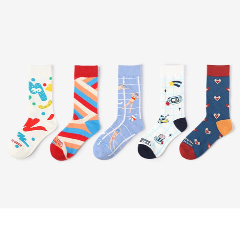 ACALEN FIVE PACK WITH MULTI COLOR CARTOON PRINT