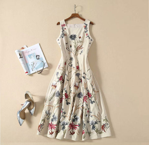 BBL DESIGN FLORAL EMBROIDERED MIDI DRESS
