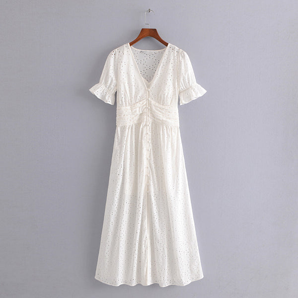 Parlo Plunge V Neck Premium White Dress