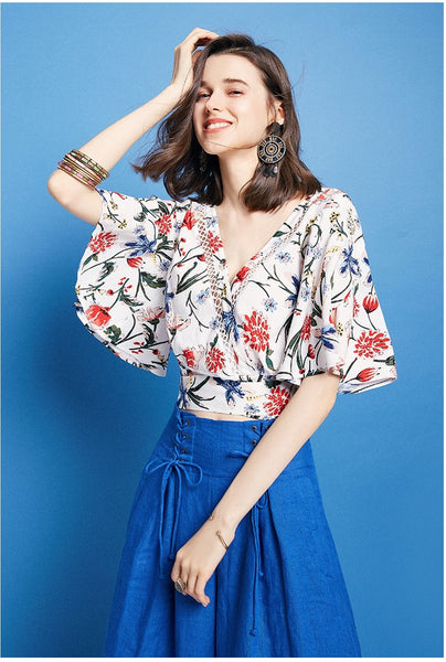ARTKA WRAP FRONT BLOUSE WITH TIE SIDE IN FLORAL PRINT - boopdo