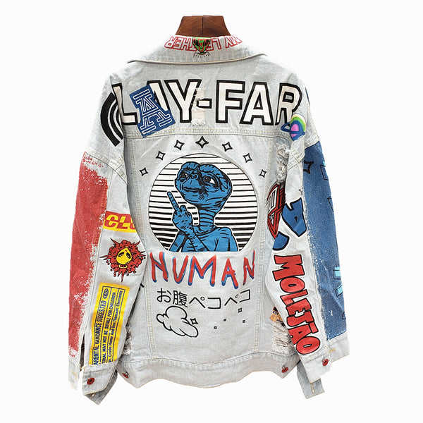 ALEYA NOIR LETTER GRAFFITI PRINTED ALIEN DENIM JEAN WOMEN JACKET - boopdo