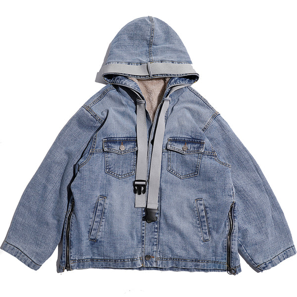SHOW RICH MADE BY ABOW LIFE THICK DENIM JEAN RIBBON HOODED JACKET - boopdo