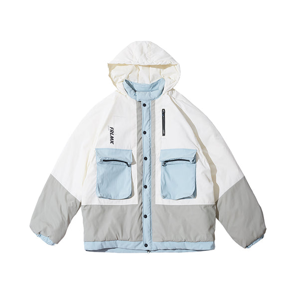 FRLMK CONTRAST COLOR PADDED COTTON BABY BLUE DOWN COAT - boopdo