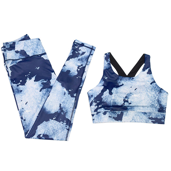 ZUMBA ABSTRACT PRINT LEGGINGS IN DARK BLUE - boopdo