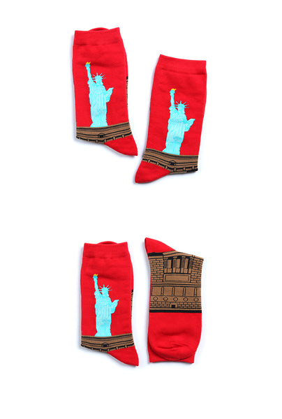 HEYNICE STATUE OF LIBERTY PRINT ANKLE SOCKS IN RED - boopdo