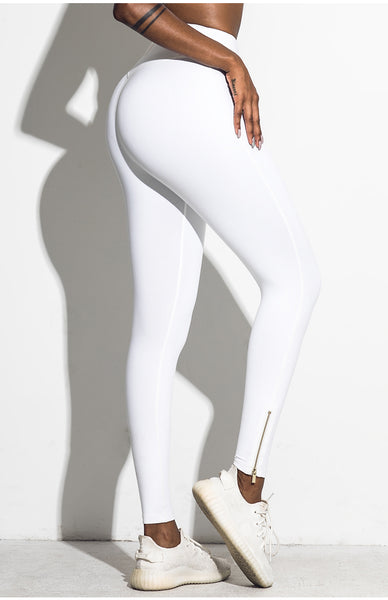 FIRM ABS HIGH WAIST LEGGINGS WITH FRONT ZIP UP DETAIL C18405