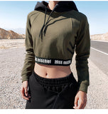MISCHIEF SUPER CROP HOODIE WITH LOGO TAPING - boopdo