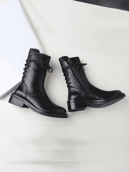 DONNA LIMAO BRITISH RETRO STYLE LOW HEELED LEATHER BOOTS IN BLACK - boopdo