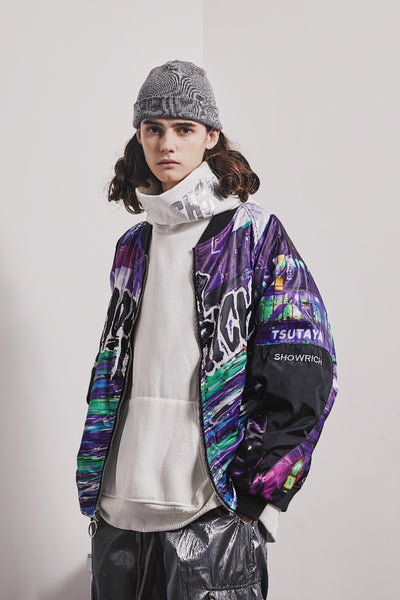ZHUGE SHOW RICH MADE BY ABOW LIFE REVERSIBLE WINDBREAKER JACKET IN MULTI COLOR - boopdo
