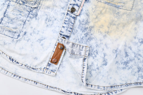 BOOPDO DESIGN SNOWFLAKE WASHED DENIM SHIRT IN ICE BLUE