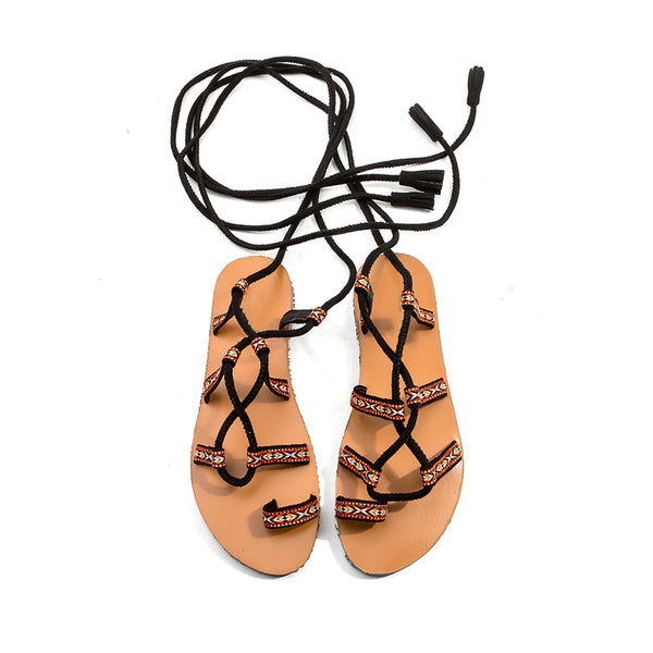 BOOPDO DESIGN BOHEMIAN WIDE FIT TIE LEG FLAT SANDALS - boopdo