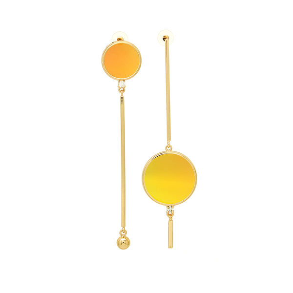 LITTLE JOYS STERLING SILVER GOLD PLATED ASYMMETRIC ABSTRACT SHAPES EARRINGS