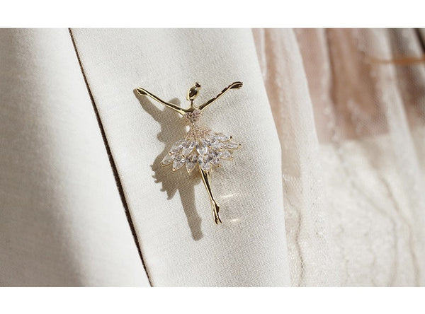 UZL DESIGN CRYSTAL BALLERINA PIN CLIP IN GOLD PLATED - boopdo