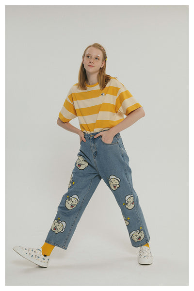 TYAKASHI RELAXED DAD JEANS IN POPEYE PRINT - boopdo