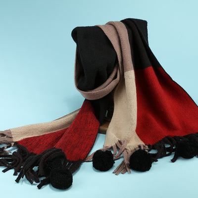 MR EVIL MATCHING COLOR TASSEL BALL LONG SCARF