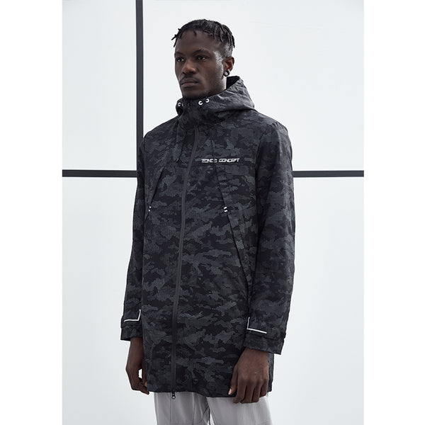 ZONOS CONCEPT CAMOUFLAGE HOODED LONG TRENCH COAT IN BLACK - boopdo