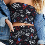 ZOFO TATA SHEMODA GRAFFITI PRINT SHIRT WITH MATCHING CROP TOP IN BLACK - boopdo