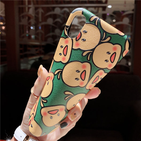 BABY DUCK CARTOON MEGIE YELLOW ANTI FALL APPLE IPHONE CASES