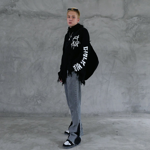 NICKO GRINCO BLACK AIR TURTLENECK SWEATER IN BLACK - boopdo