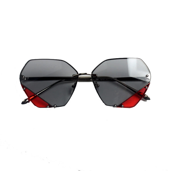 SEZRIE CURVED FRAME CLOTH MIRROR SUNGLASSES