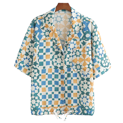 BOOPEXLIA SPANISH STYLE GEOMETRIC CONTRAST COLOR PRINT SHIRT