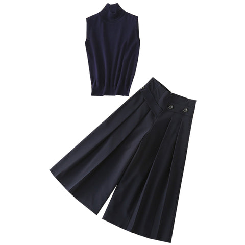 BBL DESIGN CO ORD ROLL NECK SLEEVELESS TOP AND WIDE LEG CROPPED TROUSERS