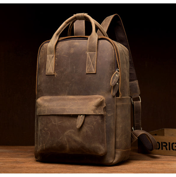 MANTIME EIGHTH AVENUE RETRO HANDMADE OUTDOOR 15 INCHES LEATHER BACKPACK IN BROWN - boopdo