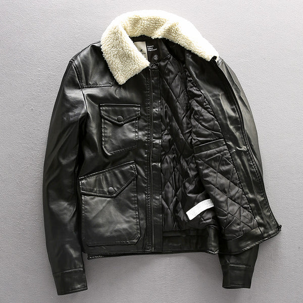 EXQUISITE LEISURE KING OF JACKET FAUX FUR PU BLACK LEATHER - boopdo
