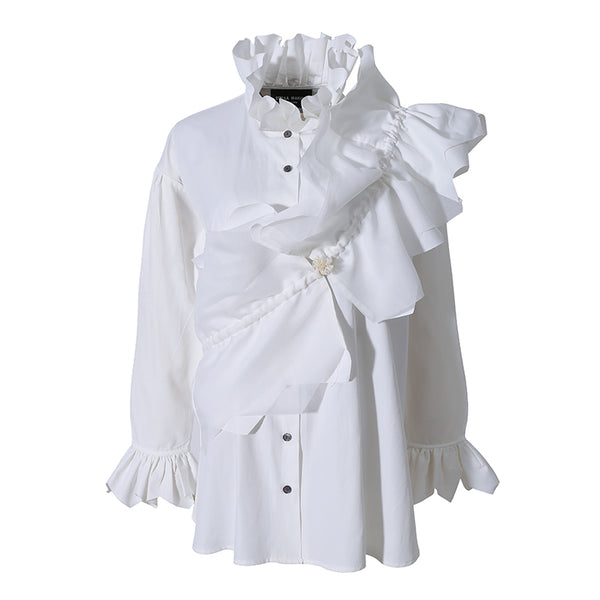 STELLA MARINA COLLEZIONE GEOMETRIC PLEATED LOTUS LEAF COLLAR SHIRT - boopdo