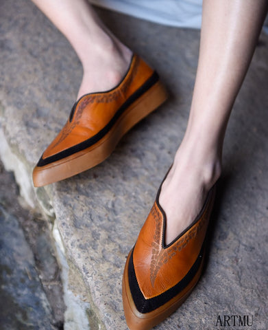 ARTMU POINTED TOE CHUNKY LEATHER LOAFERS