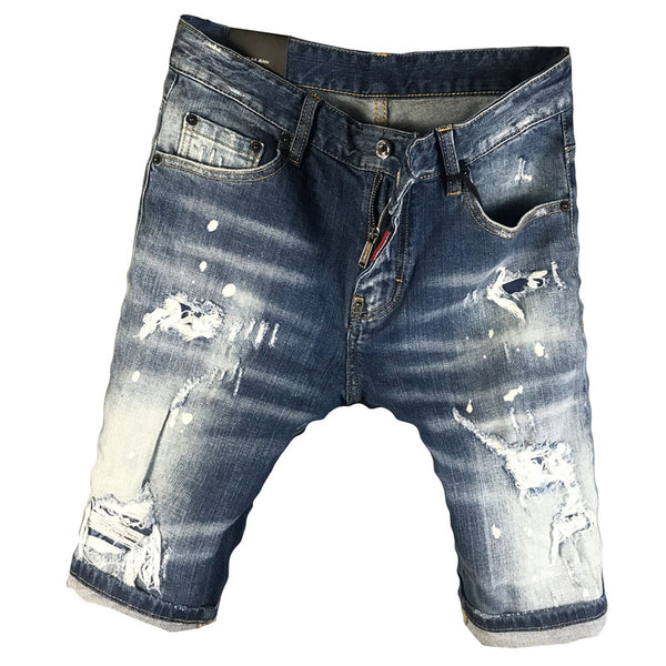 SCOUTAMOI BOOPDO DESIGN RIPPED SMEAR PAINT DENIM JEAN SHORT PANTS