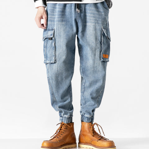 ADAMZO CHANRITS WASHED DENIM JEAN HAREM JOGGER PANTS IN BLUE
