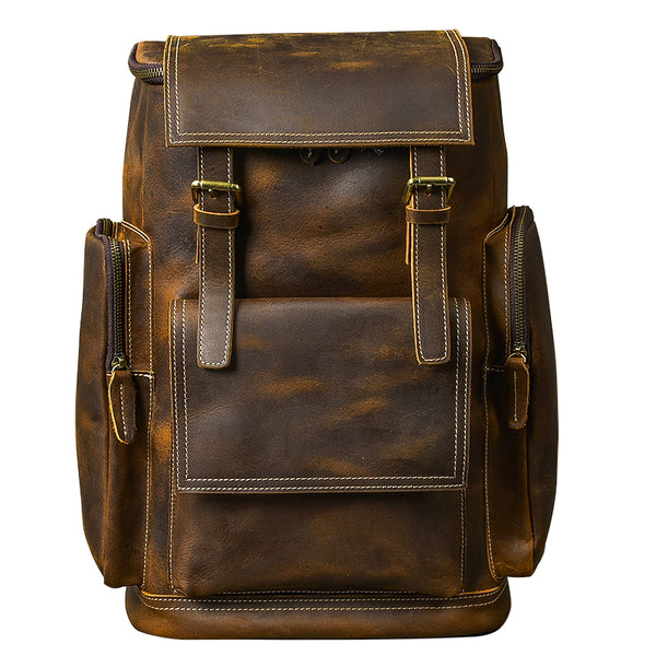 TWENTY FOUR STREET BRITISH DESIGN LARGE CAPACITY BROWN LEATHER BACKPACK