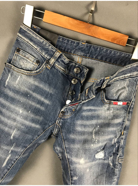 DS2UPS RIPPED PATCH WASHED DENIM JEANS IN BLUE - boopdo