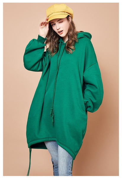ARTKA OVERSIZED RIBBED CUFF LONG LINE HOODIE