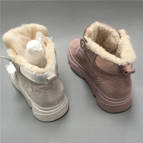 BOOPDO DESIGN HIGH TOP BOOT TRAINERS WITH FAUX FUR LINING - boopdo