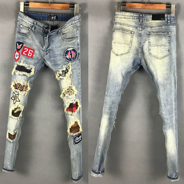 DSTWUPS AMR RIPPED PATCH BADGE RETRO DENIM JEANS IN LIGHT BLUE - boopdo