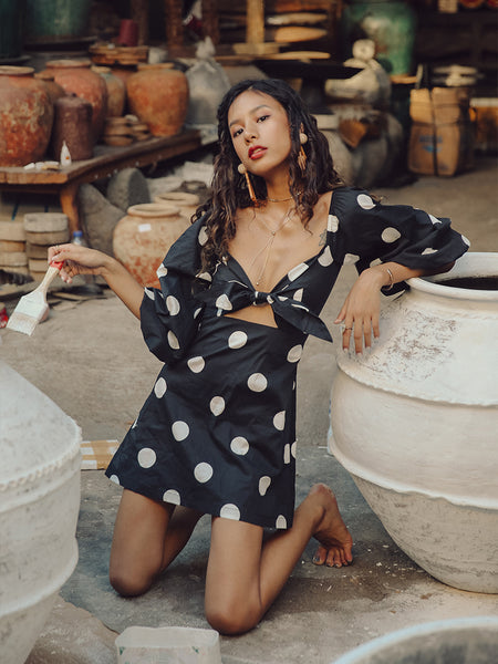 SINCE THEN BALLOON SLEEVE POLKA DOT MINI DRESS WITH TIE FRONT DETAIL