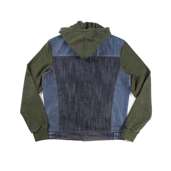 Texans Monorza Adoo Washed Denim Hoodie Jacket In Navy Green