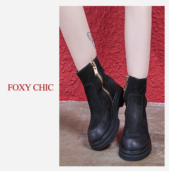FOXY CHIC KAROLINA MARTIN FREGOSO LEATHER WOMEN ANKLE BOOTS - boopdo