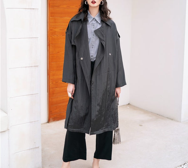 8GIRLS DESIGN BELTED LONGLINE TRENCH COAT - boopdo