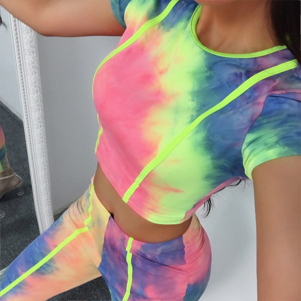 ZUMBA GIRLS CROP TOP & LEGGINGS IN MARBLE CO ORD