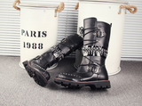 RODEO CAMPO SNAPDRAGON HIGH BOOTS IN BLACK WITH RIVET - boopdo