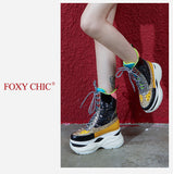 FOXY CHIC JESSICA BREE STYLE CHUNKY PLATFORM LEATHER SHOES - boopdo