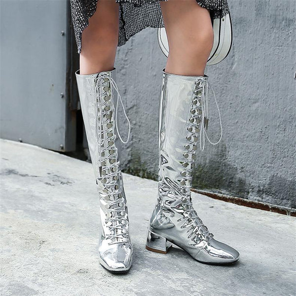 ROMALIX UNIPLO SQUARE TOE CROSS STRAP SYNTHETIC LEATHER SHINY BOOTS - boopdo