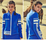 CAGGEEN WOOL TRAINING TRACK JACKET IN BLUE WHITE - boopdo