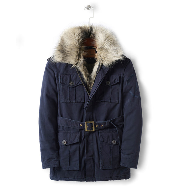 geez island thick faux fur collar multi pocket jackets