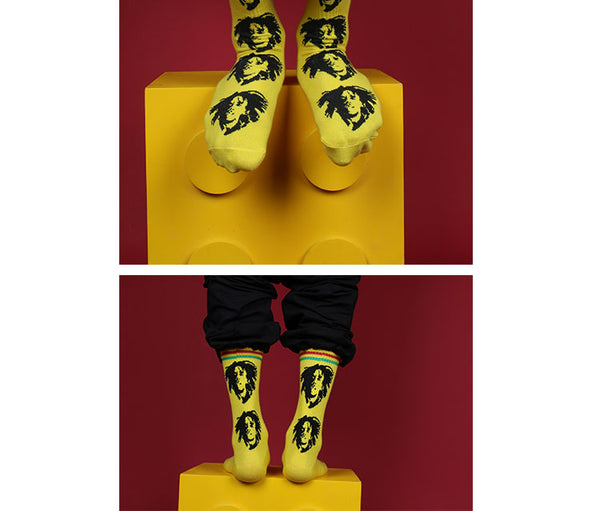 ZWILL UNIQUE CHILL BOB MARLEY PRINT SKATEBOARD SOCKS - boopdo