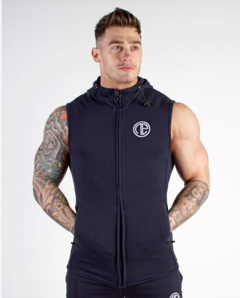 MIRA MUSCLE COTTON FITNESS TRAINING HOODIE VEST - boopdo